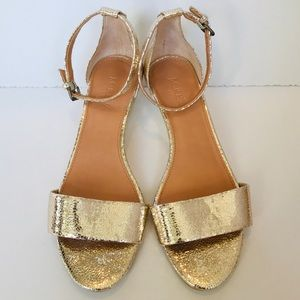 J. Crew Metallic Gold Leather Wedge Sandals 7